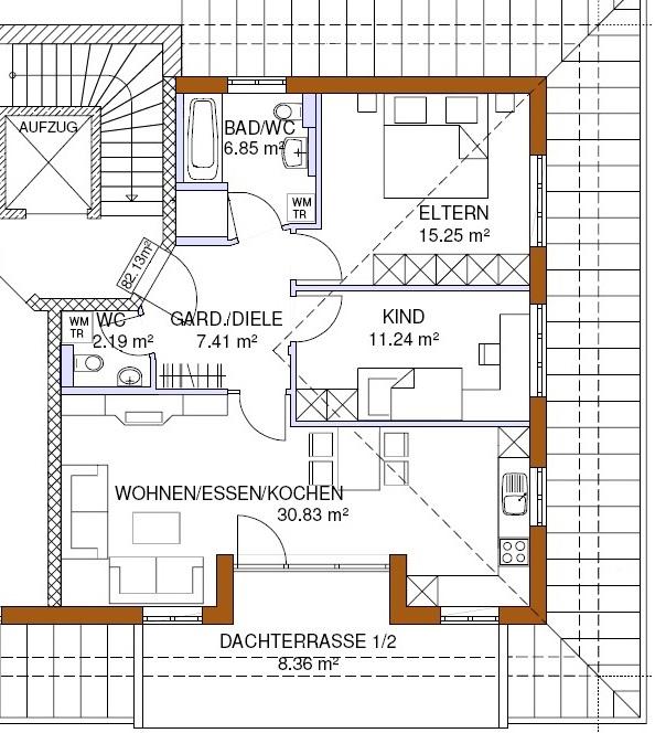 Grundriss-Penthouse